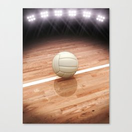 Volleyball on a court with stadium lighting Canvas Print