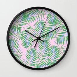 Fern Leaves Pink Wall Clock