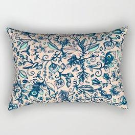 Teal Garden - floral doodle pattern in cream & navy blue Rectangular Pillow