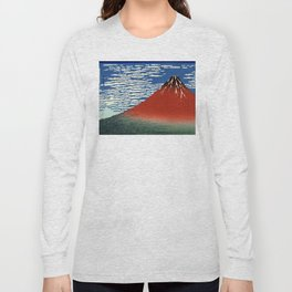 """Hokusai (1760–1849) """"Fuji, Mountains in clear Weather (South Wind, Clear Sky)(Red Fuji)"""" Long Sleeve T-shirt"""