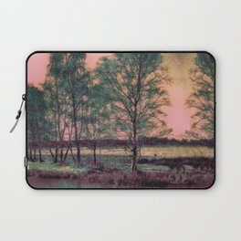 Abstract Winter Landscape, Sun and Birch Trees Laptop Sleeve