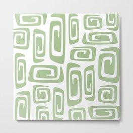 Mid Century Modern Cosmic Abstract 613 Sage Green Metal Print