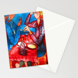 Two friends drinking wine and having dinner Stationery Cards