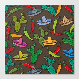 Cactus, sombrero and spices Canvas Print