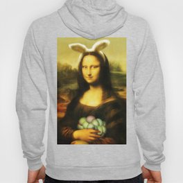 Easter Mona Lisa with Bunny Ears and Colored Eggs Hoody
