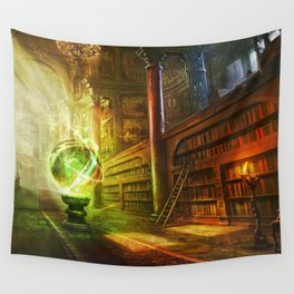 Magical Graceful Old Antique Library Witchcraft Sorcerer Globe Ultra HD Wall Tapestry