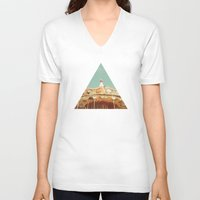 carousel V-neck T-shirts featuring Carousel Lights by Cassia Beck