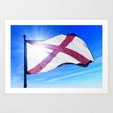 Alabama (USA) flag waving on the wind Art Print