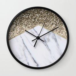 Shimmering golden chevron marble Wall Clock