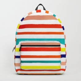 Bright Watercolor Rainbow Stripes Backpack