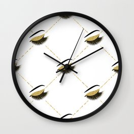 Lashes with gold glitter Wall Clock