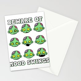 Funny Mood Swing T Shirt Design Beware of mood swings Stationery Cards