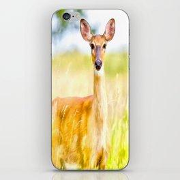 Deer digital painting , Deer water color painting decor iPhone Skin