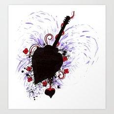 Bleeding Black Heart Guitar Art Print