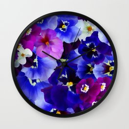 Abstract blue purple pink white pansies floral Wall Clock