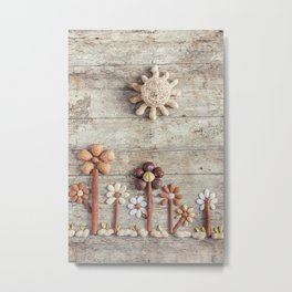 Dried fruits arranged forming flowers (3) Metal Print