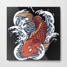 Colorful japanese Koi fish with great waves Metal Print