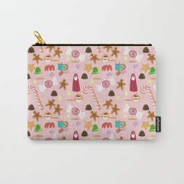 Christmas Sweeties Candies, Peppermints, Candy Canes and Chocolates on Pink Carry-All Pouch