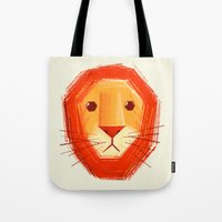 sad Tote Bags featuring Sad lion by Lime
