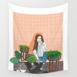 girl in peach with plants illustration painting Wall Tapestry