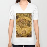vintage map V-neck T-shirts featuring VintaGe Map by ''CVogiatzi.