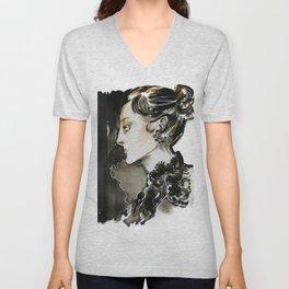 Black and white fashion illustration Unisex V-Neck