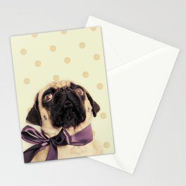 Polka Dot Pug Stationery Cards
