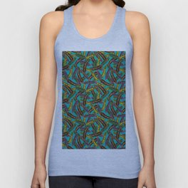 Crotons on Aqua Unisex Tank Top