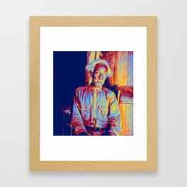 Bob Lemmons Carrizo Springs, Texas Born a slave about 1850 Original by Dorothea Lange Neon art by Ah Framed Art Print