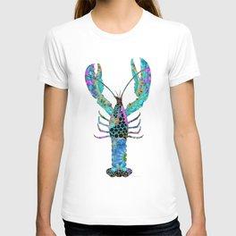 Fun Mandala Lobster Art - Colorful Beach Decor - Sharon Cummings T-shirt