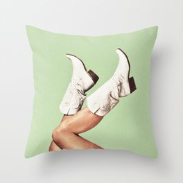 These Boots - Green Throw Pillow