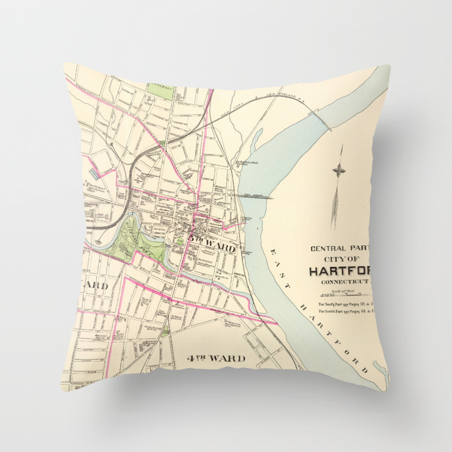 Vintage Map of Hartford Connecticut (1893) Throw Pillow