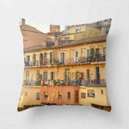 Balconies in Girona, Cataluna, Spain Throw Pillow