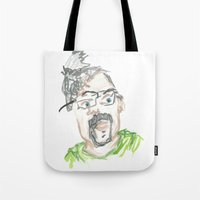 kevin russ Tote Bags featuring Kevin by Sadie Padial