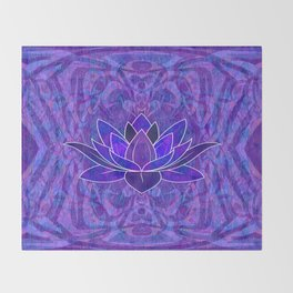 Blue and Purple Lotus Floral Tribal Print Throw Blanket