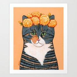 Autumn Calico Flower Crown Art Print