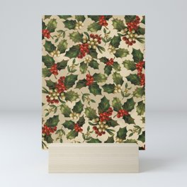 Gold and Red Holly Berrys Mini Art Print