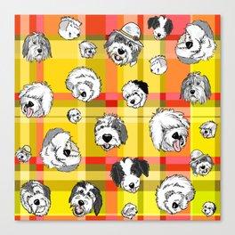 Plaid Sheepies Yellow & Orange Canvas Print