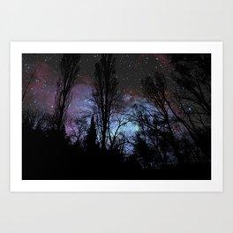 Black Trees Dark Space Art Print