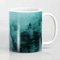 blankets Mugs featuring Fractal Forest by Klara Acel