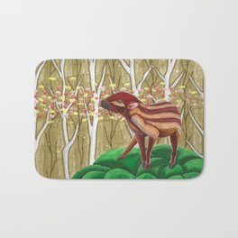 Young wild boar lost in the forest Bath Mat