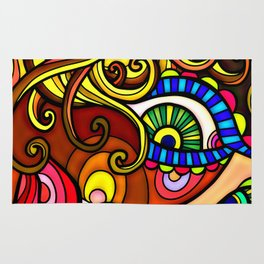 Abstract Doodle Face Rug