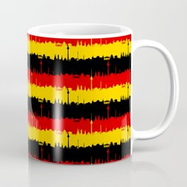 Dresden Germany Skyline Flag Repeating German Flag Fed, Gold and Black Colors Coffee Mug