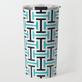 Geometric Pattern 212 (teal black) Travel Mug