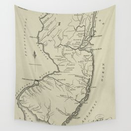 Vintage Map of New Jersey (1794) Wall Tapestry