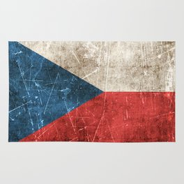 Vintage Aged and Scratched Czech Flag Rug