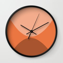 Only Connect - Orange Clay Blush Minimalist Mid-Century Modern Abstract Wall Clock