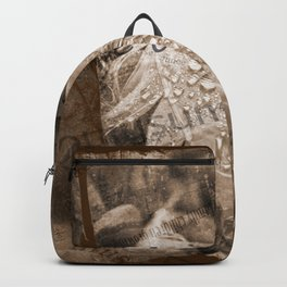 Boho Grunge Sepia Swan Feather and Text Design Backpack