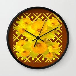 Coffee Brown Pattern of Golden Daffodils Art Wall Clock