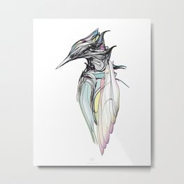 Kingfisher 1h. Full color plus black borders with white background-(Red eyes series) Metal Print